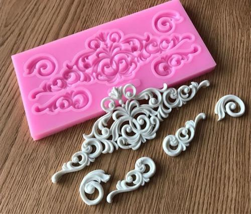 Molde silicona detalles barroco fondant porcelana belgrano