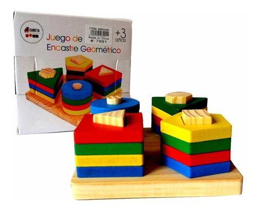 Juego didáctico madera encastre bloques geométricos
