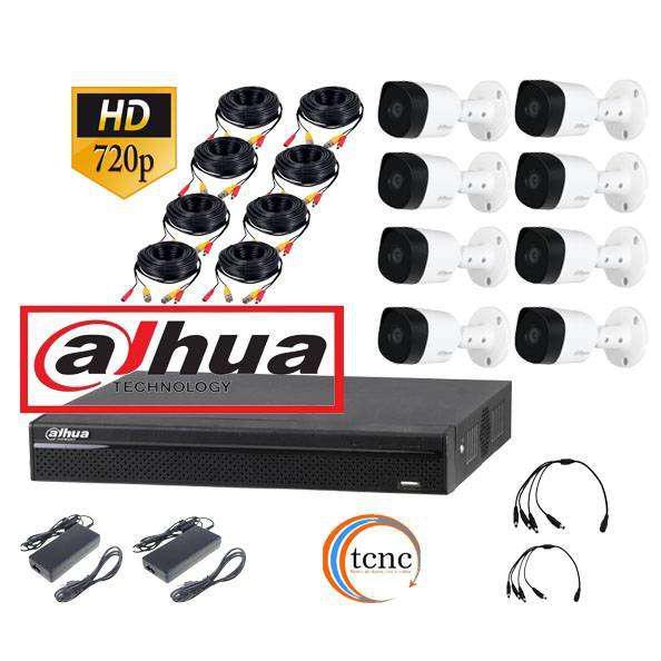 Kit dahua 8 camaras hd+ dvr+ fuentes de alimentacion+ cables