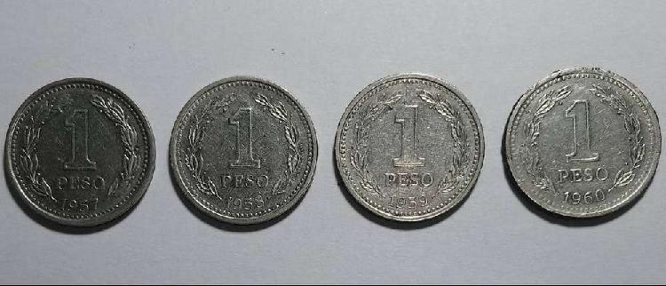 Lote coleccion monedas 1 peso 1957/58/59/60