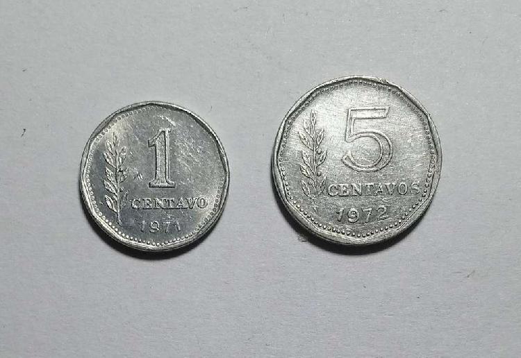 Lote monedas 1 y 5 centavos 1971/72