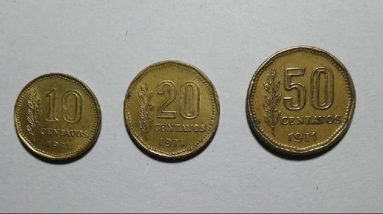 Lote monedas 10 20 y 50 centavos 1971