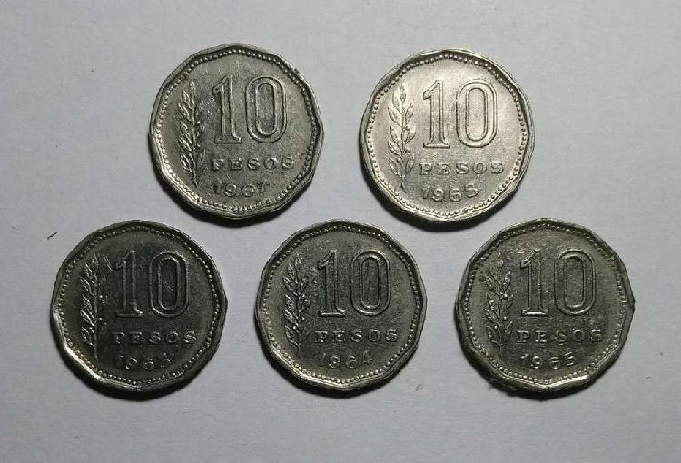 Lote monedas 10 pesos 1963/64/65/67/68