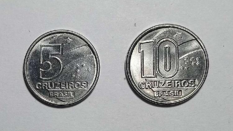 Lote monedas 5 y 10 cruzeiros 1991