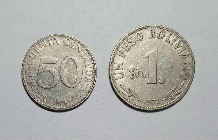 Lote monedas 50 centavos y 1 peso boliviano 1974/72