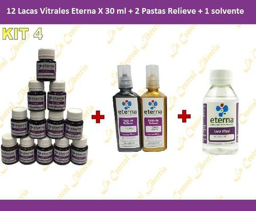 Laca vitral eterna 37ml x 10 + 3 pastas relieve + 2 solvente