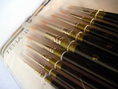 Pinceles redondos gold toray set x 10 acrílio, madera, yeso