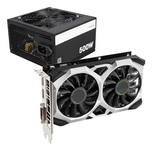 Combo placa video gtx 1650 4gb + fuente 500w 80p mexx 3
