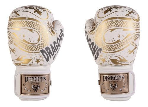 Guantes de boxeo / muay thai / kick blanco dragones dorados