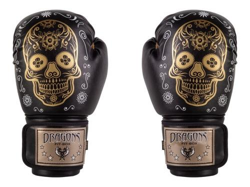Guantes de boxeo / muay thai / kick negro calavera mexicanas