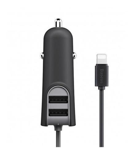 Cargador auto 2 usb + cable lightning incorporado - baseus