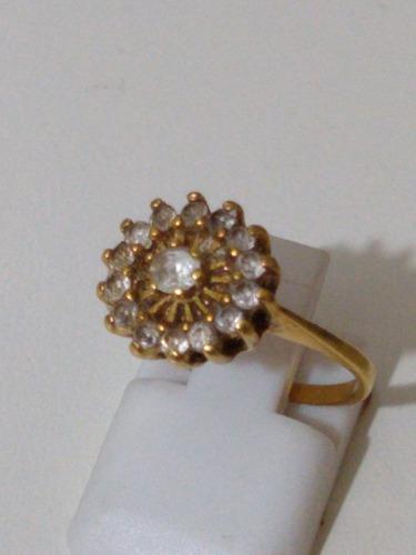 Anillo roseta oro corona 18 klts piedras zafiro y central