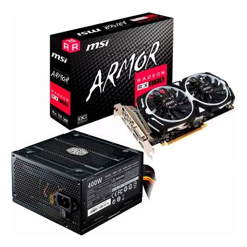 Combo placa video rx 570 4gb msi oc + fuente 400w mexx 2