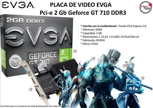 Placa de video evga pci-e 2 gb geforce gt 710 ddr3