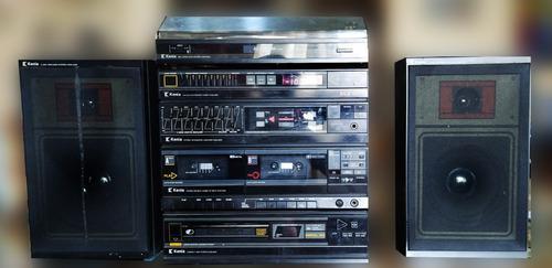 Sistema de audio doble cassett, am fm, toca discos