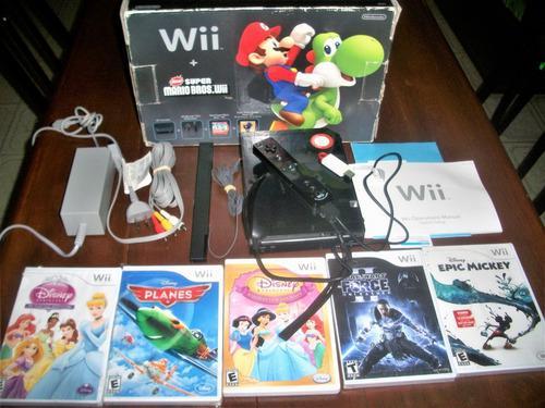 Wii + flash + wiimote + nunchuck + 5 juegos originales y