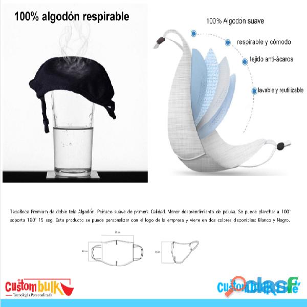 Tapa boca reutilizable personalizado algodon