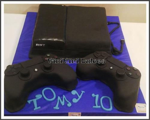Torta play station 4 con joystick s cumpleaños bautismo