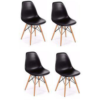 Combo 4 sillas comedor patas de madera diseño eames