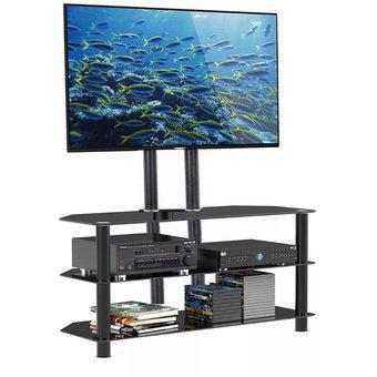 Mesa rack para tv led hasta 75 pulgadas, 3 estantes, vidrio