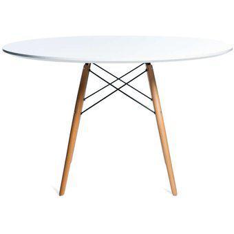 Mesa de comedor redonda madera laqueada nórdica 80cm -