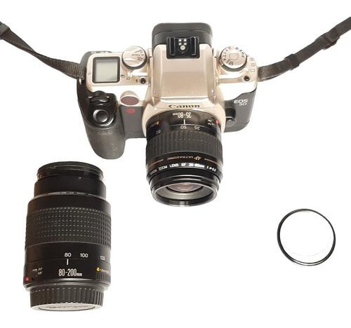 Cámara canon eos 50 analógica + 2 lentes + funda
