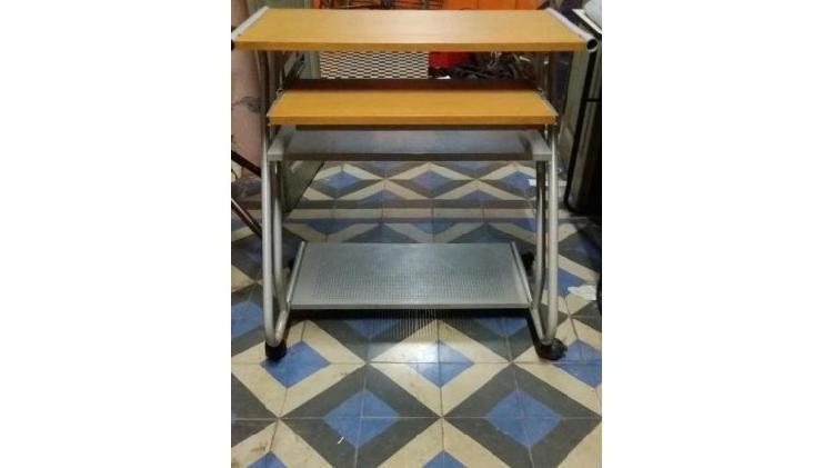 Escritorio mesa pc computadora rebatible madera y metal alto