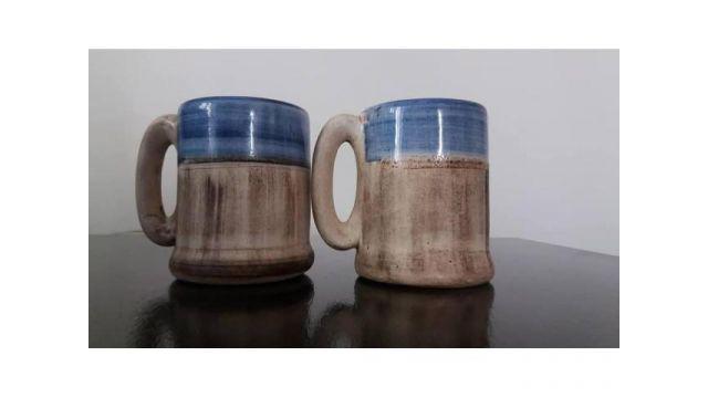 Jarro taza cerámica rústica una de ellas con detalle alto