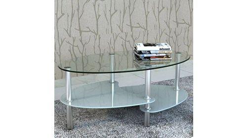 Mesa ratona vidrio y metal cromado
