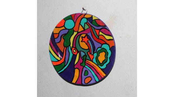 Platito pintado a mano estilo psicodélico, 13 cm de