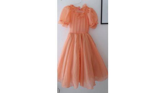 Vestido niña gasa falda con tul color salmon