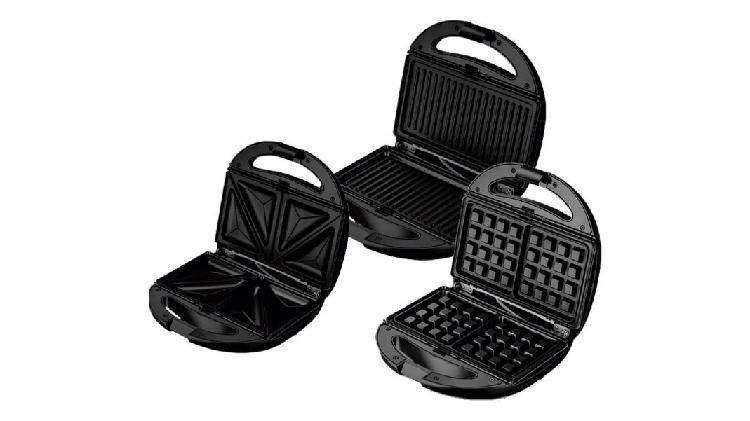 Waflera sandwichera grill panini 3 en 1 electrica, 6 placas,