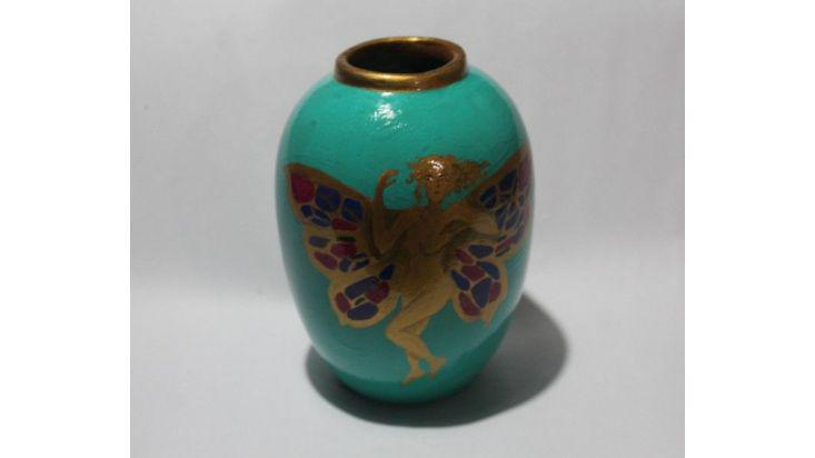 Jarrón florero con hada y flores art nouveau, $ 200