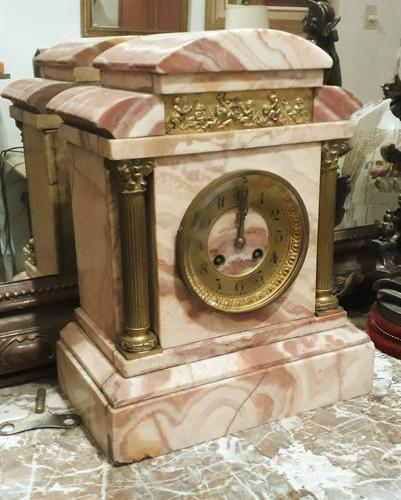 Antiguo reloj garniture marmol frances