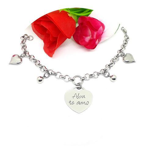 Pulsera abu te amo / abuela acero quirúrgico / joyas