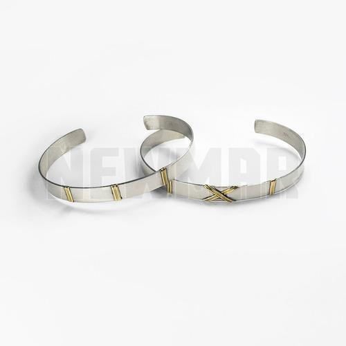 Pulsera esclava plata y oro 18 kts 7 mm - hombre mujer papá