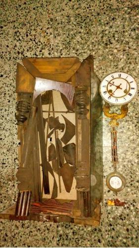 Reloj antiguo pared péndulo desarmado p reparar o repuestos