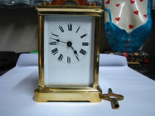 Reloj Antiguo Paris A Cuerda Caja Bronce Vidrios Biselados