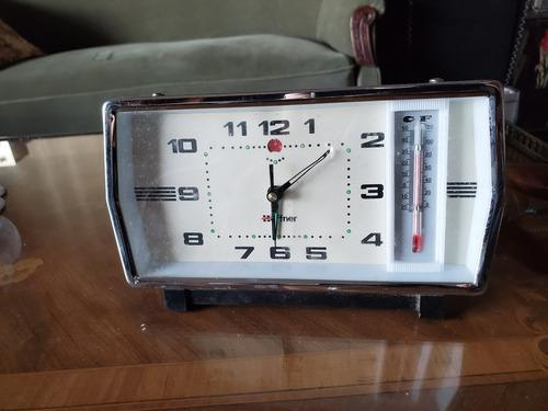 Reloj despertador c/ termómetro, hoffman vintage retro