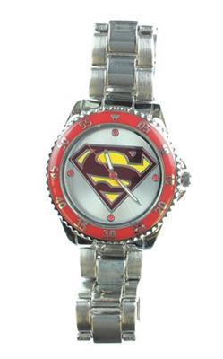 Reloj accutime dc comics superman emblema - negro / plateado