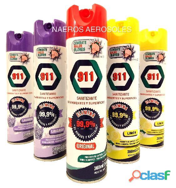 desinfectante 911 en aerosol superficies ambiente sanitizante cordoba