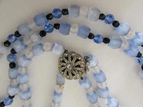 Antiguo collar cristal veneciano celeste bco combinado 2vtas