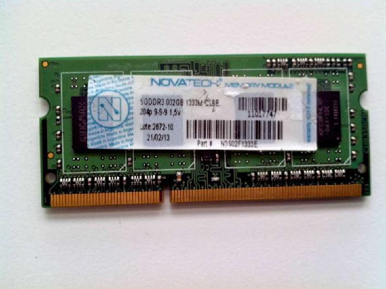 Memoria ram sodimm novatech ddr3 2 gb 1333 mhz netbook gob