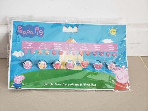 Peppa pig. set de 7 anillos y aros autoadhesivos. juguete