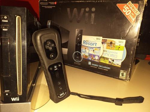 Nintendo wii black flasheada + juegos originales+ accesorios