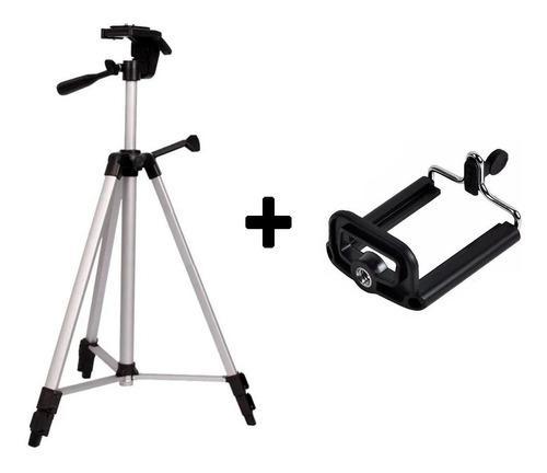 Tripode p/ foto video univ p/ camaras 1.35mt + adap celular