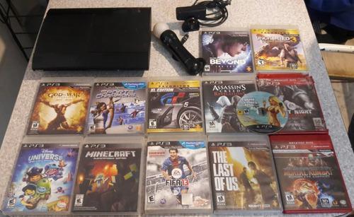 Playstation 3 super slim 500gb 12 juegos move y camara s/j