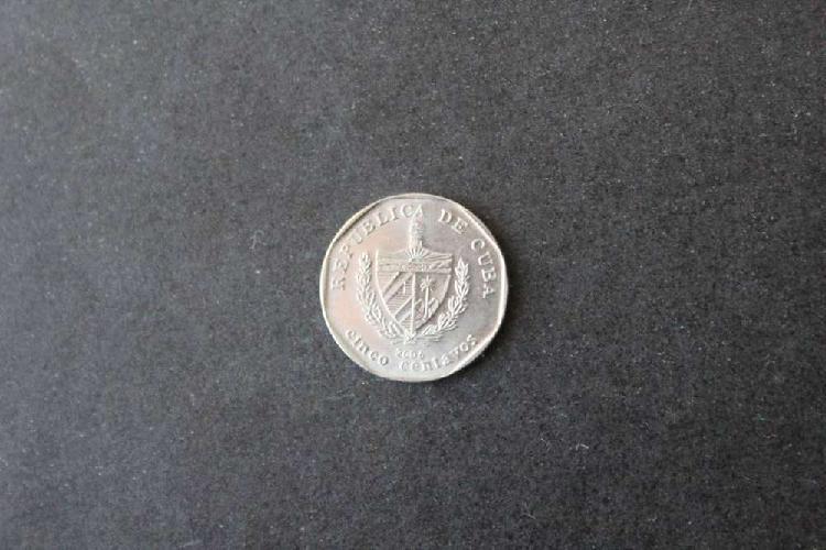 Moneda cuba, 2006, 5 centavos, anverso escudo nacional,