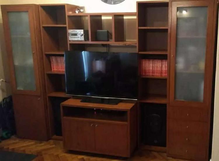 Mueble modular rack living comedor biblioteca tv enchapado
