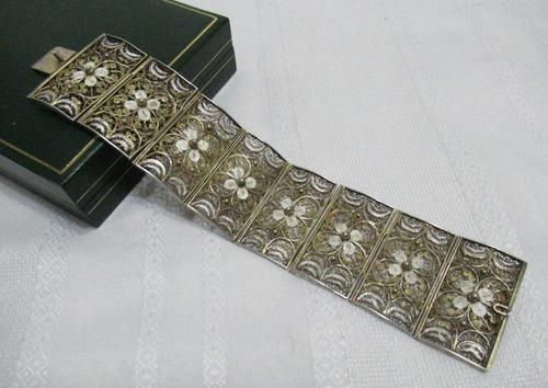 Antigua pulsera plata 800 filigrana dorado vermeil completa!